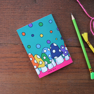 Rainbow mushrooms notebook by Laura Lee Designs