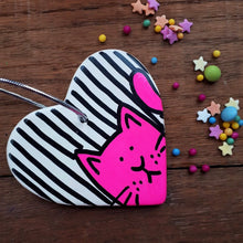 Load image into Gallery viewer, SALE - Cat Heart - Hanging Decoration - Hand Painted - Neon Pink