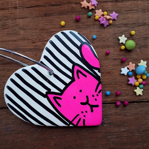 SALE - Cat Heart - Hanging Decoration - Hand Painted - Neon Pink