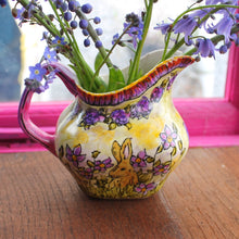 Load image into Gallery viewer, Purple floral bunny jug by the vintage pimp by Laura Lee Designs