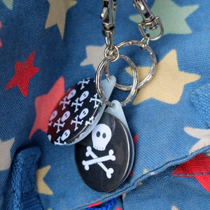 Pirate keyring skull and crossbones steampunk gothic bag charm by Laura Lee Designs Cornwall