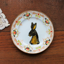 Load image into Gallery viewer, Black rex rabbit vintage pimp plate by Laura Lee Designs Cornwall
