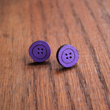 Load image into Gallery viewer, Purple wooden button stud earrings by Laura Lee Designs
