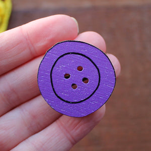 Purple button brooch by Laura Lee Designs in Cornwall