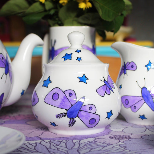 Moths & Stars Sugar bowl - Hand Painted - Fine China - SALE