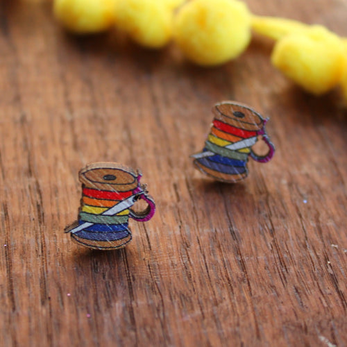 Rainbow cotton spool earrings wood and stainless steel by Laura Lee Designs
