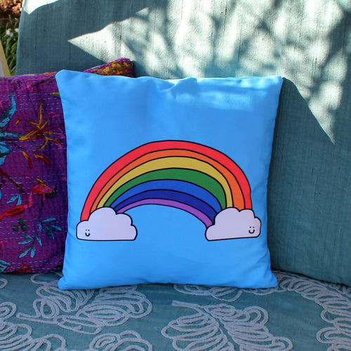 Rainbow cushion by Laura lee designs Cornwall