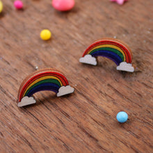 Load image into Gallery viewer, Wooden rainbow earrings by Laura Lee
