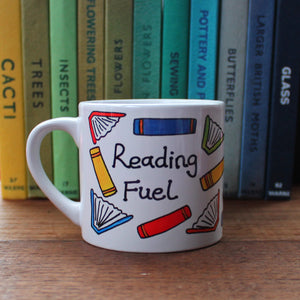 Child's size reading fuel mug scattered colourful books cup for reading Laura Lee Designs Cornwall