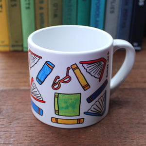 Scattered books readers mug children's gift by Laura Lee Designs Cornwall