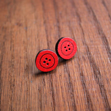Load image into Gallery viewer, Red wooden button studs by Laura Lee Designs