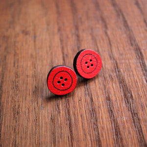 Red wooden button studs by Laura Lee Designs