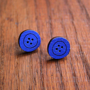Royal blue button stud earrings by Laura Lee Designs