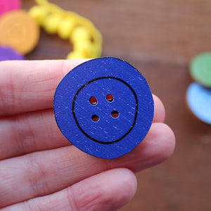 Royal blue button brooch by Laura Lee Designs in Cornwall