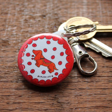 Load image into Gallery viewer, Sausage dog dachshund keyring by Laura Lee Designs