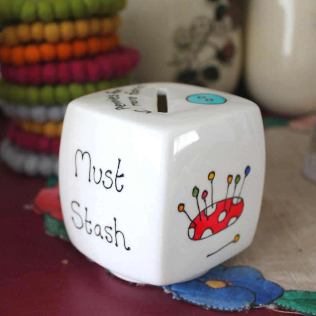 Colourful sewing money box by Laura Lee Designs Cornwall