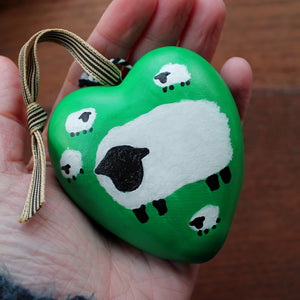 Green sheep ceramic heart