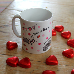 Bug waving a love letter on this fun insect mug by Laura Lee Designs