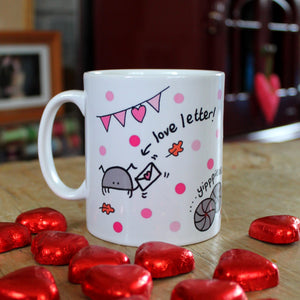 Pink woodlouse mug funny bug mug entomology by Laura Lee Designs Cornwall