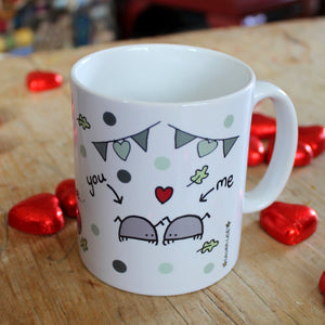Green pill bug mug love bugs by Laura Lee Designs Cornwall