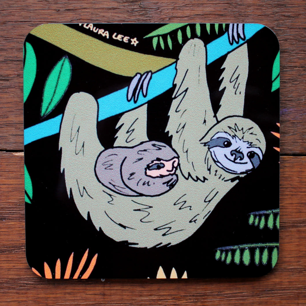 Sloth coaster sloth themed homewares and gifts by Laura lee designs Cornwall