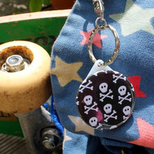 Load image into Gallery viewer, Mini skulls gothic pirate keyring by Laura Lee Designs Cornwall