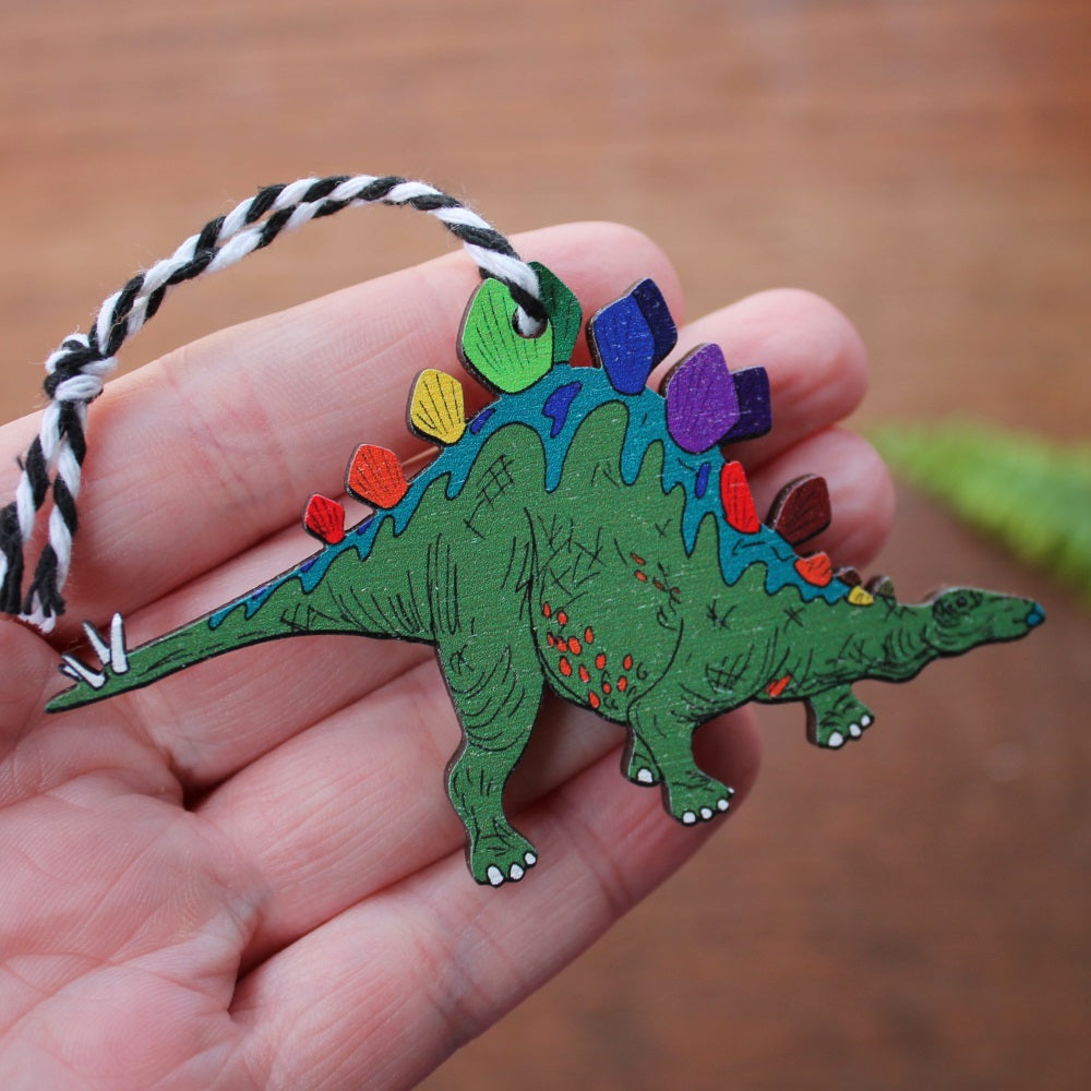 green stegosaurus hanging decoration by Laura Lee Designs in Cornwall Tree ornament