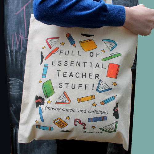 Teachers tote bag end of term gift by Laura Lee Designs in Cornwall