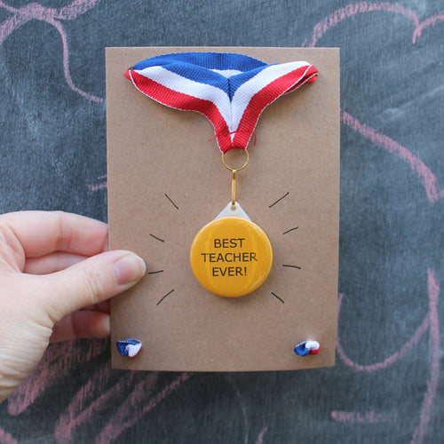 Personalised Medal & Card - Thank Our Heroes - Teacher - Key Workers - Thank You Gift