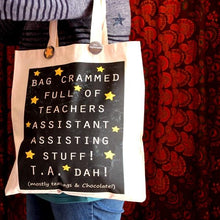Load image into Gallery viewer, Chalkboard teaching assistant bag great end of term gift for teachers by Laura Lee Designs Cornwall