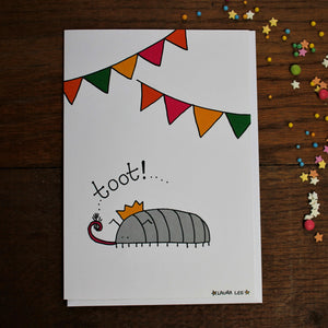 Toot! Cyril the Woodlouse Card & Envelope - Blank Inside -Birthday Card - Celebration