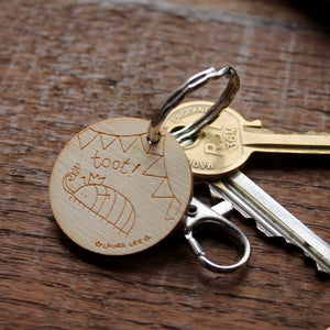 Toot! Cyril Keyring - Bug Party - Woodlouse - Wooden - Bag Charm - Zipper Pull - Clip On - Keys