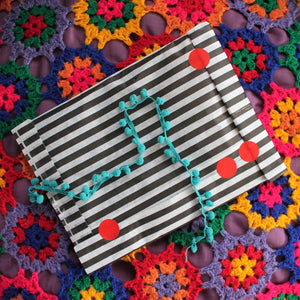 Gift wrapping black and white stripe bag