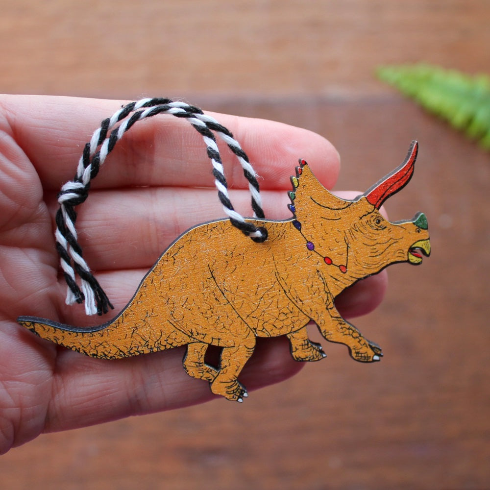 Yellow triceratops rainbow dinosaur hanging decoration by Laura Lee Designs Cornwall