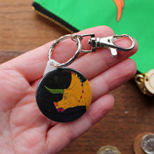 Load image into Gallery viewer, Colourful dinosaur keyring by Laura Lee Designs