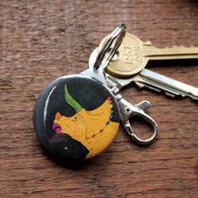 Load image into Gallery viewer, Rainbow triceratops keyring mustard yellow dinosaur by Laura Lee Designs