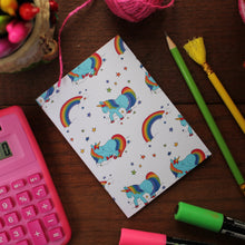 Load image into Gallery viewer, Rainbow unicorn note book by Laura Lee Designs