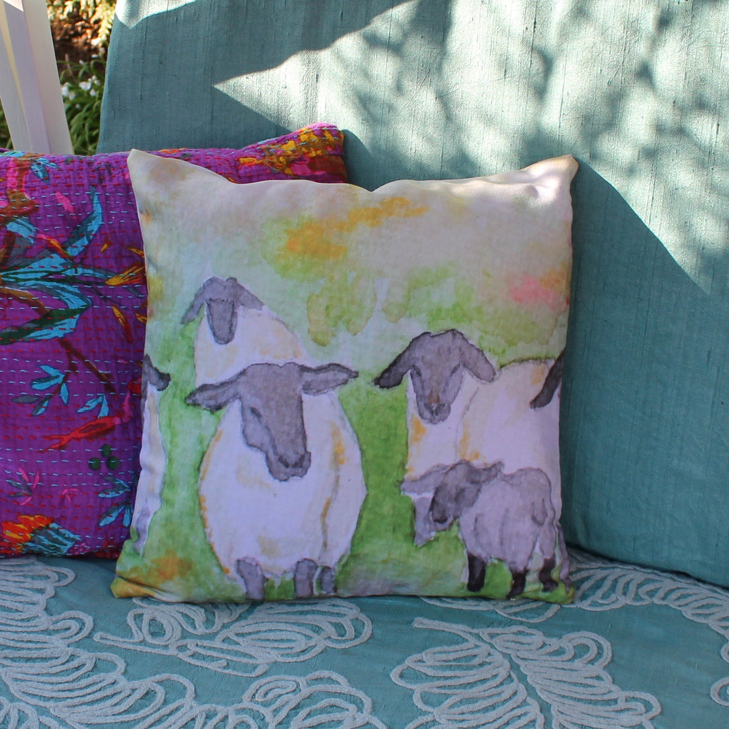 Watercolour sheep cushion by Laura Lee Designs