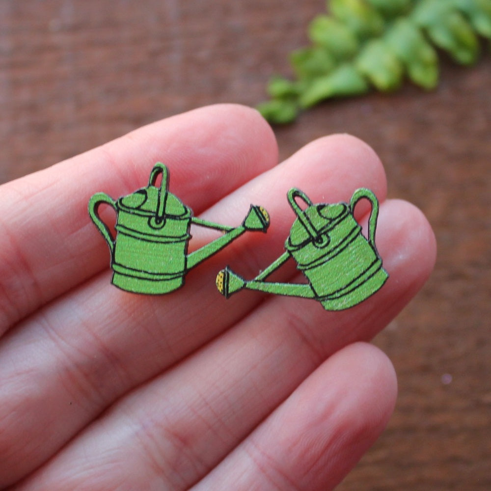 Green watering can stud earrings by Laura Lee Designs wood and stainless steel studs