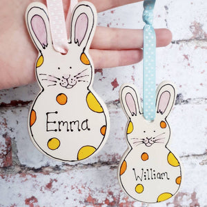 Personalised rabbit decoration by Laura Lee Designs