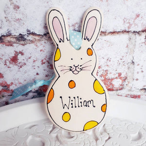 Easter decoration hanging rabbit ornament by Laura Lee Designs