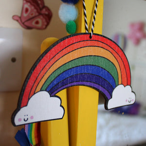 Hanging wooden rainbow by Laura Lee Designs