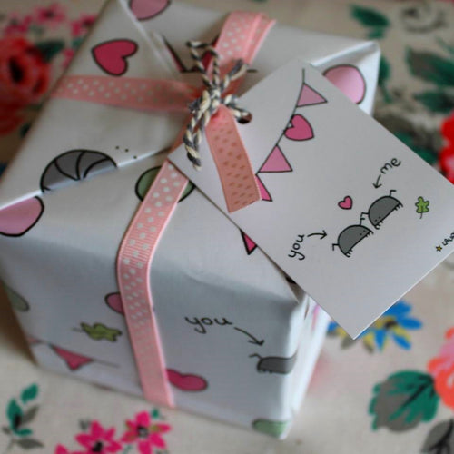 Cyril and Myrtle woodlice in love romantic wedding gift wrap by Laura Lee Designs
