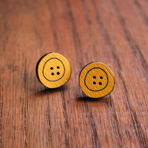 Yellow wooden button studs by Laura Lee Designs