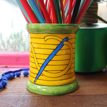 Load image into Gallery viewer, Yellow sewing thread bobbin storage jar vase by Laura Lee Designs
