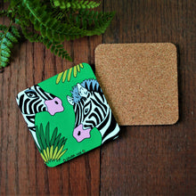Load image into Gallery viewer, High quality cork backed coaster in a fun and colourful zebra design by Laura Lee designs Cornwall