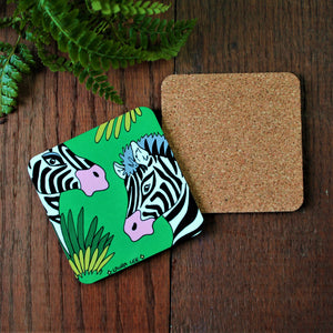 High quality cork backed coaster in a fun and colourful zebra design by Laura Lee designs Cornwall