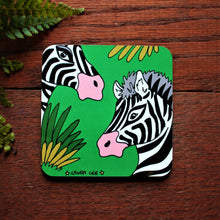 Load image into Gallery viewer, Colourful zebra coaster bright green with black and white striped zebras in long grass by Cornwall based designer artist Laura Lee