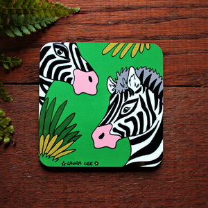 Colourful zebra coaster bright green with black and white striped zebras in long grass by Cornwall based designer artist Laura Lee