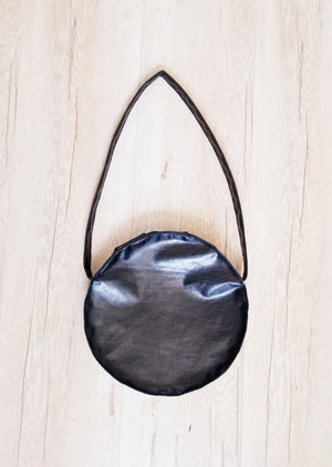 Black leather circle bag with one strap